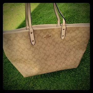 Tan and Ivory Reversible Coach Bag